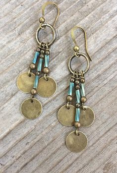 Boho Jewelry Boho Chandelier Brass Earrings with Blue Glass Accents - Natural stone and copper boho earrings. I used red creek jasper and oxidized copper to create colors that are very soft and warm. Approx in length. Copper Jewelry, Bohemian Jewelry, Wire Jewelry, Jewelry Crafts, Beaded Jewelry, Jewelery, Jewelry Ideas, Druzy Jewelry, Wire Rings