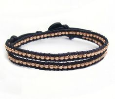 Rose Gold Double Wrap Bracelet Thin Faceted Black Naturally Dyed Leather by LReneDesigns Click and use coupon code PIN10 saves you 10% now.