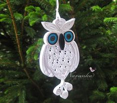 Paper Quilling Owl Ornament  White Owl by NavankaCreations on Etsy, $24.99