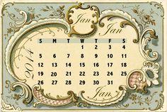 Free printable 2014 Vintage Calendar Cards - ausdruckbare Kalender-Karten - freebie | MeinLilaPark – digital freebies