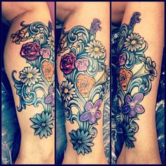 Alice In Wonderland Flowers Tattoo Like. flower bouquet, alice in