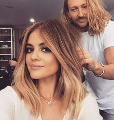 Little #BTS with this hottie @lucyhale love getting to play with this ones hairs..!! @allanface on makeup fresh hair color @kristin_ess #PLL #LucyHale