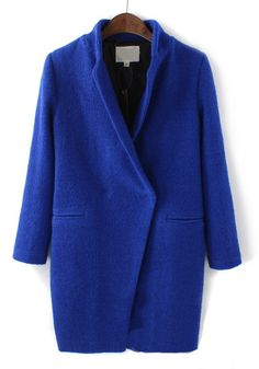 Sapphire Blue Plain V-neck Long Sleeve Wool Coat