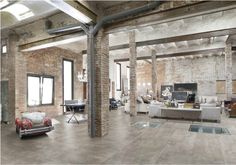 beautiful home space open bricks industrial ceiling white rustic modern interior design