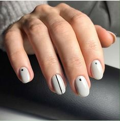 Have you heard of the idea of minimalist nail art designs? These nail designs are simple and beautiful. You need to make an art on your finger, whether it's simple or fancy nail art, it looks good. Nail Art Stripes, Dot Nail Art, Polka Dot Nails, Polka Dots, Grey Stripes, Simple Nail Art Designs, Short Nail Designs, Simple Art, Round Nail Designs
