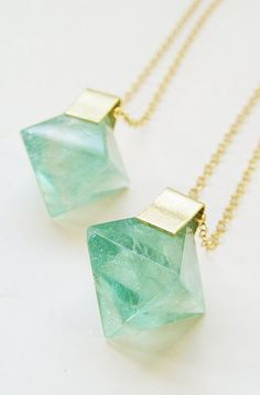 Green Fluorite Pyramid Gold Necklace