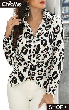 Twist Front Leopard Print Long Sleeve Blouse Women's Online Shopping Offering Huge Discounts on Dresses, Lingerie , Jumpsuits , Swimwear, Tops and More. Trend Fashion, Fasion, Women's Fashion, Color Beige, Printed Blouse, Pattern Fashion, Shirt Blouses, Shirts, Sleeve Styles