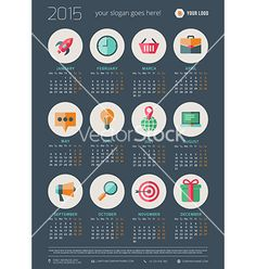 Calendar 2015 template week starts monday vector by Dimasic50 on VectorStock®