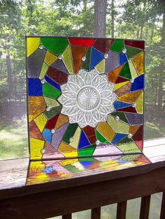 Stained glass plate panel by Meaco's Art Garden, via Flickr