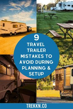 We were newbies at setting up our travel trailer once upon a time, but we learned a thing or two about how to set up our travel trailer over the last few years we had her. To help you avoid making the same travel trailer mistakes while other veteran haulers standby and shake their heads, we've come up with a list of things to avoid. This list includes things to avoid doing when traveling with a travel trailer and also (most importantly) what to do instead. #traveltrailer #rvcamping #rvtravel Travel Trailer Living, New Travel Trailers, Travel Trailer Camping, Rv Travel, Rv Camping, Family Travel, Travel Tips, Towing Vehicle, Fresh Water Tank