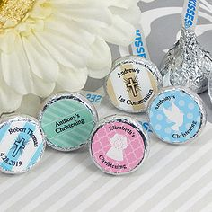 Personalized Religious Hershey Kisses Chocolate Favors #Baptism #Christening #Communion