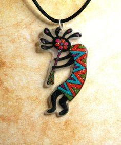 Sparkly Kokopelli Necklace - Wearable Art, Shrink Plastic - Indigo, Pink, Orange, Purple and Turquoise