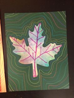Contour Lines and color diffusing leave (Roylco) Students used watercolor markers and water to create these leaves then we used contour lines to show motion