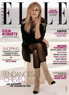 Julia is gracing the cover of ELLE Quebec's October issue. Enjoy a couple of great images from the pictorial, feauturing Julia dressed in Givenchy, Calzedonia...