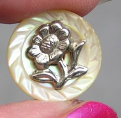 Carved Mother of Pearl Shell Button w/Cut Steel Floral