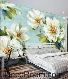 Vintage White Camellia Flower Wallpaper Wall Decals Wall Art Print Mural Home Decor Gift Rose Oil Painting, Mural Painting, Paintings, Bedroom Murals, Wall Murals, Geometric Wallpaper Metallic, Art Decor, Decoration, Home Decor