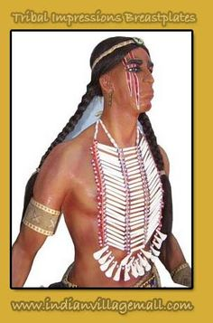 Buffalo Tooth Breastplate-  Handmade with 6 cm hairpipe Bone, beads and buffalo teeth Bones Breast plate with teeth - Review the Tribal Impressions Breastplate collection off of: http://indianvillagemall.com/dreamcatchers/breastplates.html