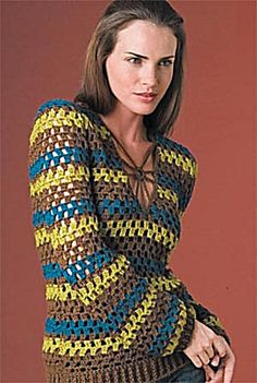 Ravelry: Retro Striped Pullover pattern by Lion Brand Yarn. Or make it a solid color