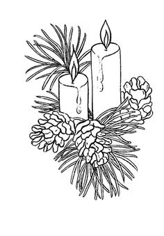 Click To See Printable Version Of Beautiful Christmas Candles Coloring Page