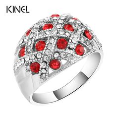 Vintage Jewelry Silver Plated Retro Look Big Oval Red Austrian Crystal Engagement Rings For Women //Price: $8.49 & FREE Shipping //     #necklace #glam