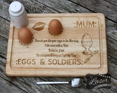 Laser Engraved Wooden Rectangle 'Egg & by TheLaserBoutique on Etsy