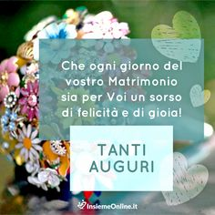 Auguri agli sposi! Dedicate una frase di auguri sinceri ai vostri più cari amici. Wedding Favor Boxes, Happy Anniversary, Place Cards, Place Card Holders, Party, Frases, Happy Birthday, Thoughts, Hair