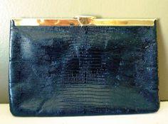 1950s Vintage Black Snakeskin Clutch / Gold by highvintage on Etsy, $24.00