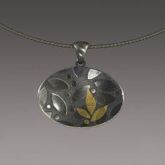 Leaf Pendant sterling silver, gold