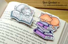 Magnetic Cat Bookmarks by Jess Gerstner | Newton's Book Club Stamp set by Newton's Nook Designs #newtonsnook