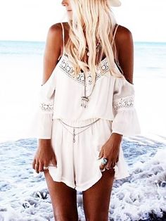 Fashion Womens 2016 Summer the Shoulder Rompers Lace Loose V-Neck Sexy Chiffon Beach Jumpsuits shoulder lace rompers White Long Sleeve Jumpsuit, White Lace Romper, Lace Playsuit, Short Playsuit, Lace Jumpsuit, Long Sleeve Romper, Short Jumpsuit, Boho Romper, Backless Jumpsuit