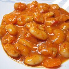 Lima beans in red sauce ingredients: ½ pound of lima beans 1 onion 2 carrots sprigs of celery tomatoes 1 tsp. tablespoons of tomato paste salt & pepper 2 tsp. Vegetarian Recipes, Cooking Recipes, Healthy Recipes, Greek Side Dishes, Greece Food, Soup Beans, Greek Cooking, Group Meals, Greek Recipes