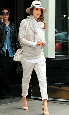 cream chinos, cream patent wedges, mushroom hued sweater, and a wide-rimmed hat.