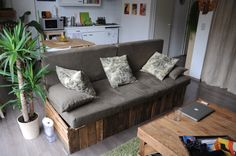 Built myself a couch and coffee table from pallet wood.