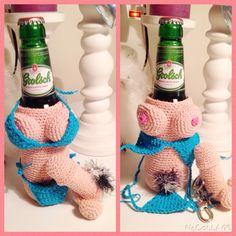 Crochet Beer Boobs cozy en labello piemelhouder :)