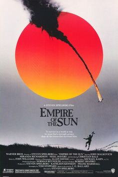 """One of the all-time great movie posters.    The first movie of young Christian Bale (Batman) about the Japanese invasion of China. This poster manages to capture so many elements of the film it's hard to know where to start: the kid's love of airplanes, the POW camp, the war, the Japanese """"rising sun"""" emblem... rendered in the style of a Chinese brush painting. Brilliant."""