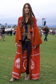 Danielle Haim of the band  Haim wears a vintage top and Ksubi jeans.  Coachella Street Style... - Bohemian, Boho Chic And Hippie Fashion