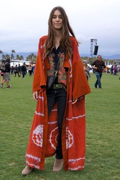 Danielle Haim of the band  Haim wears a vintage top and Ksubi jeans.  Coachella Street Style... - Bohemian, Boho Chic And Hippie Fashion