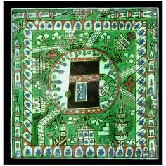 An Iznik pottery tile depicting the Ka'ba Kaba Kaaba and the Masjid al-Haram, Mecca Turkey, 17th Century. Dimensions: 24.7 x 24.8 cm.