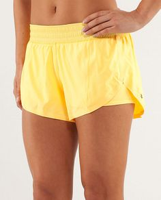 I am not a Lululemon fan, but I feel like these shorts would be PERFECT for yoga...they're lose, but have an inner lining that doesn't show anything.