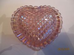 Vintage Pink Carnival Glass Quilted Heart Shaped Covered Trinket Box ~ LE Smith