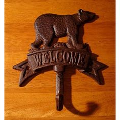 Rustic Cast Iron Bear Welcome Cabin Kitchen Bathroom Towel Hook Hanger Decor..., By Log Cabin Lodge Ship from US #rusticcabindecor
