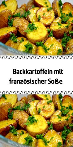 Baked potatoes with French sauce-Backkartoffeln mit französischer Soße Are you bored with rice and mashed potatoes as a side dish for a main course? Prepare these delicious baked potato halves with French sauce. Salmon Recipes, Potato Recipes, Lunch Recipes, Diet Recipes, Vegan Recipes, Salsa Francesa, Sauce Française, French Sauces, Recipe Today