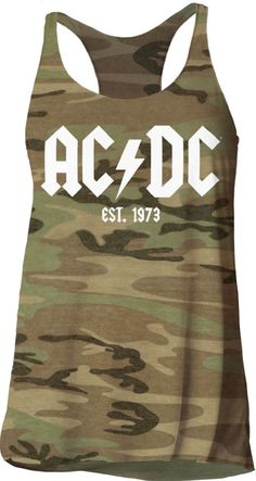 Our women's AC/DC tank top t-shirt features the band's classic logo, with the year the band was established, 1973. Since their 1973 formation, AC/DC have become one of the most successful rock bands of all time, selling over 200 million copies of their albums, worldwide. This AC/DC Established 1973 tank top tee is made from 100% green camouflage cotton. #AC/DC #bonscott #angusyoung #bandtees #rockerrags
