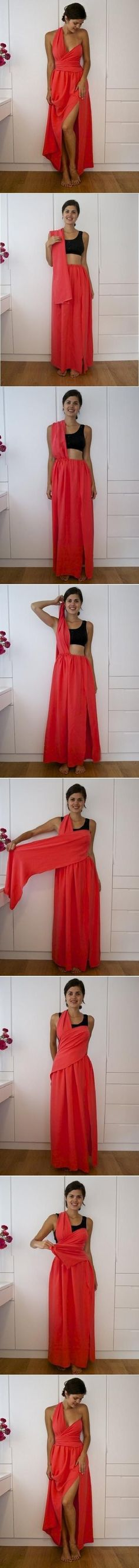 Just grab a long probably 8 feet of fabric and try this.