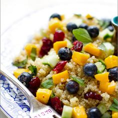 Blueberry Mango Quinoa Salad with Lemon Basil Dressing Recipe.