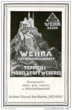 Original-Werbung/ Anzeige 1928 - WEHRA TEPPICHE / WEHR BADEN -  ca. 70 x 110 mm