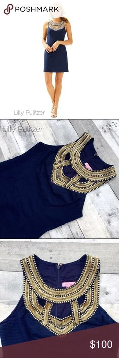 """Lilly Pulitzer Carlton Ponte shift True navy dress Gorgeous gold beading create a dress with drama that's able to go to the club or to most summer weddings.  Ponte shift dress in True navy in excellent condition. Flat lay measurements are approximately 18"""" from pit to pit; 34"""" from shoulder to hem. Lilly Pulitzer Dresses"""