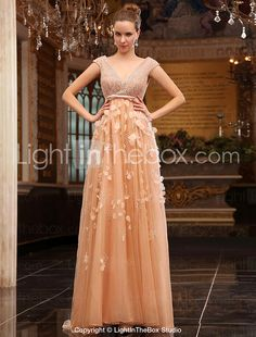 A-line V-neck Sweep Brush Train Tulle Over Chiffon Luxurious Dresses - USD $ 999.99