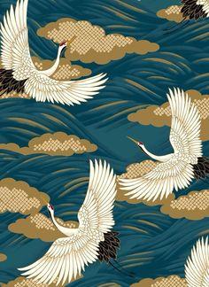 tissu japonais There is something about a crane x Japanese Textiles, Japanese Patterns, Japanese Fabric, Japanese Prints, Japanese Design, Japanese Crane, Japanese Kimono, Art And Illustration, Illustrations