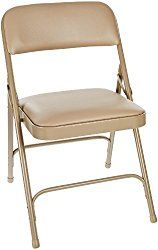National Public Seating 1200 Series Steel Frame Upholstered Premium Vinyl Seat and Back Folding Chair with Double Brace, 480 lbs Capacity, French Beige/Beige (Carton of 4)